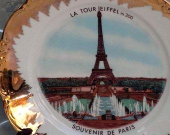 Eiffel Tower Paris France Souvenir Plate Gold Trim La Tour Eiffel 1950s Classic