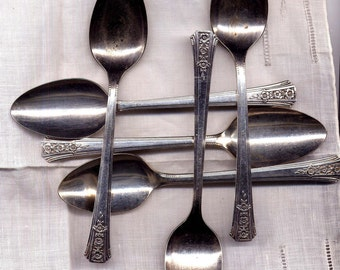 Six Silverplated Teaspoons Onieda Romford Pattern 1939