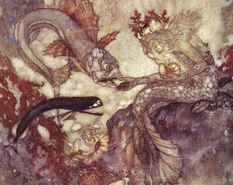 Little Mermaid Lithograph Illustration Edmund Dulac From Hans Christian Anderson