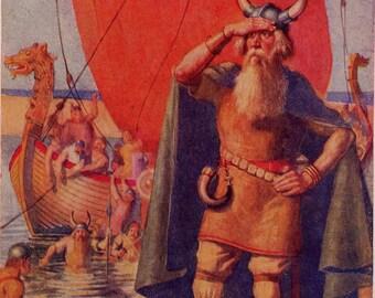Viking Dudes Come Ashore Vintage Children's Lithograph Illustration To Frame 1939 Original
