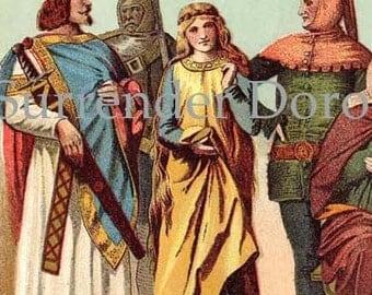 Renaissance Fashions Women Men Edwardian  Antique Chromolithograph Costume Chart To Frame
