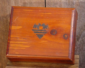 Scottie Dog Cedar Wood Jewelry Box For Men Or Women 1940s 1950s