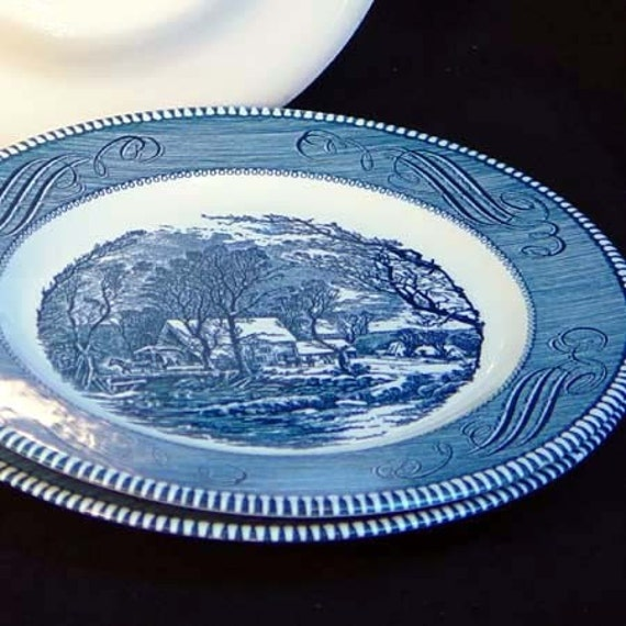 Currier &  Ives Old Grist Mill Plates Vintage Set Three 1960s Mid Century USA Country Kitchen Classics