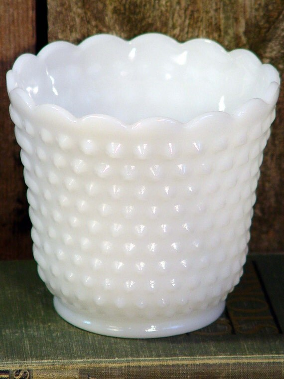 Fire King Milk Hobnail Milk Glass Vase Vintage Wedding Classic Mid Century Home Decor USA 1960s