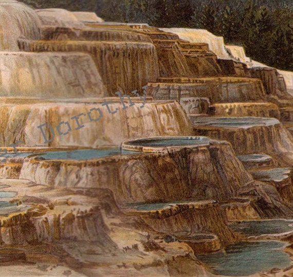Hot Springs Yellowstone National Park 1887 Natural History Chromolithograph Print To Frame