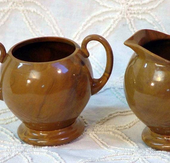 Ster-I-Lite Creamer Sugar Bowl Sterilite Vintage Mid Century Serving Set In Cocoa Brown