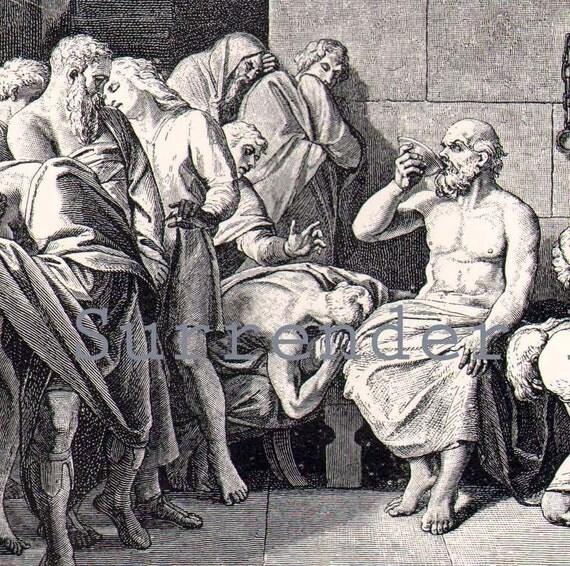 Socrates Drinks Hemlock Tragic Suicide Edwardain Engraved  Illustration From 1907