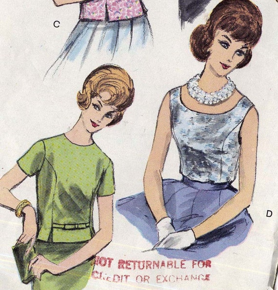 5592 Vintage Vogue Pattern Shell Top Over Blouse 1963 Size 10 Classic Mid Century 1960s Women's Fashions