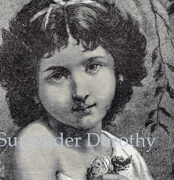 Pretty Little Girl Italian Singer Vintage Victorian Engraving 1879 Gypsy Diva Antique Children's Illustration To Frame