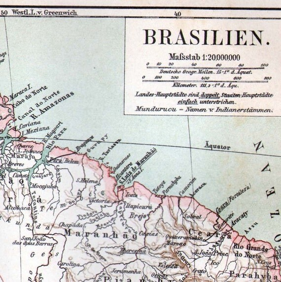 Map Brazil South America 1903 Edwardian Antique Steel Engraving Vintage Cartography Geography To Frame