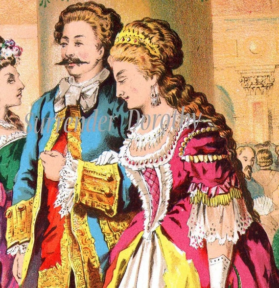 Cinderella Introduced To The Inlaws 1877 Vintage Victorian Children's Chromolithograph Illustration