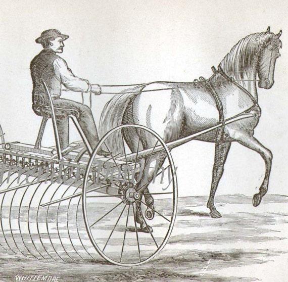 1869 Bay State Hay Rake Antique Horse Drawn Farming Equipment