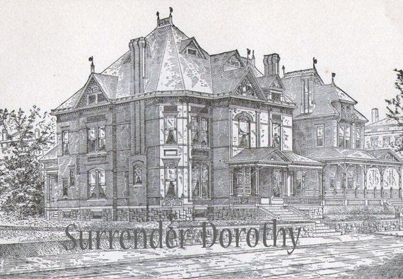 Gothic Brick Dwelling Plans Antique Victorian Architecture 1880s Vintage House Plans Print To Frame