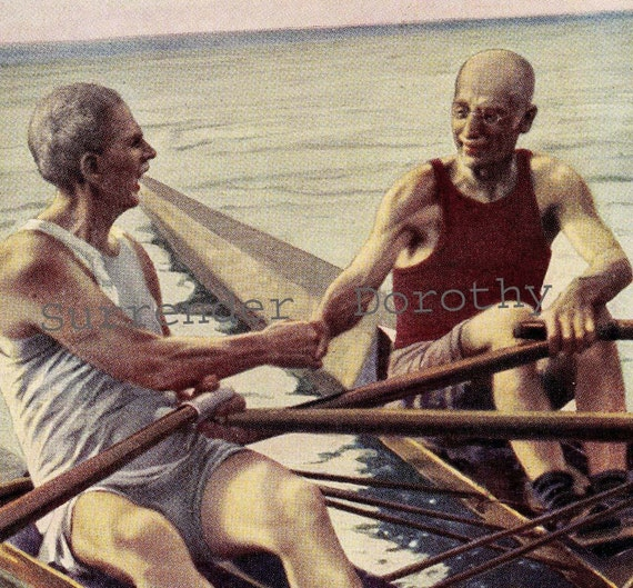 Sculling Men Old Coots Rowing Health Vintage Fitness Lithograph Illustration To Frame 1939