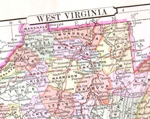 West Virginia Map USA United States 1896 Antique Victorian