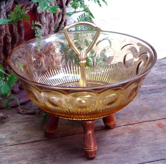 Gold Footed Serving Bowl Dish Retro Hostess With The Mostest