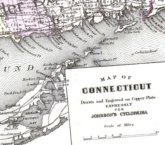 Connecticut Map United States USA 1896 Large Victorian Antique Copper Engraving Vintage Cartography To Frame