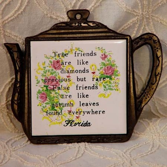 Friendship Trivet From Florida 1960s Mid Century Kitchen Ware