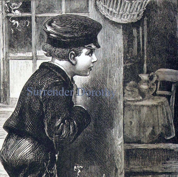 Homeless Boy Gets Bedroom For Christmas: Homeless Boy Motherless Child 1887 Vintage Victorian Engraving