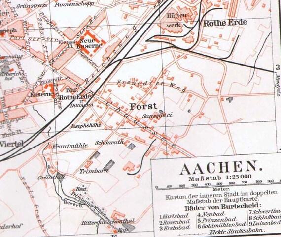 aachen aix la chapelle germany map vintage 1906 antique steel. Black Bedroom Furniture Sets. Home Design Ideas