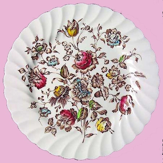 Reserved 4 PATRICIA Dinner FOUR Plates Staffordshire Bouquet  Johnson Bros 1973 Vintage Floral China