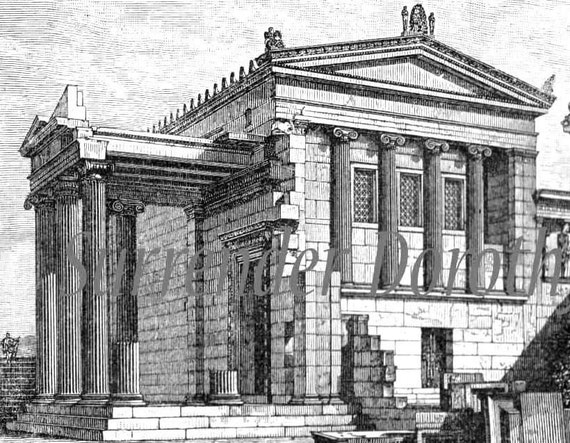 Greek Architecture Drawing ancient greek architecture 1906 edwardian vintage print steel