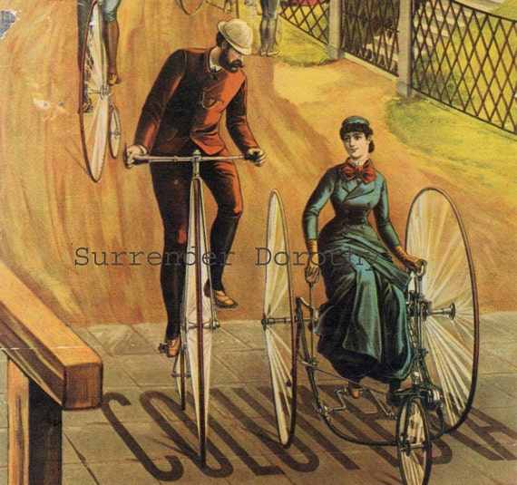 Columbia Bicycles by Maxfield Parrish and Ferry's Seeds 1885 Advertisement Poster To Frame