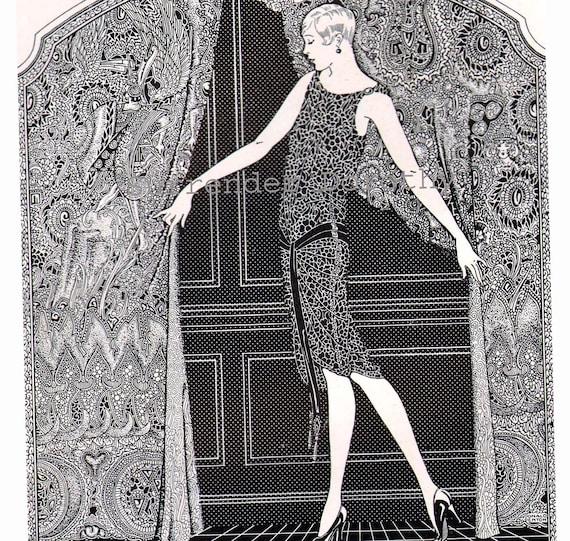 Flapper Girl Phoenix Hosiery 1920s Vintage Roaring Twenties Advertisement Engraving Print To Frame