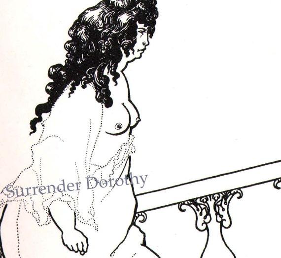 Messalina  Returning From The Bath by Aubrey Beardsley 1897 Vintage Illustration