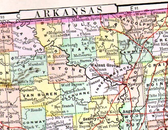 Arkansas Map United States USA 1896 Vintage Victorian Antique