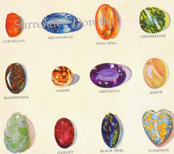 Precious Gemstones Semiprecious Stones Geology Chart Natural History Rotogravure 1940s Lithograph Illustration To Frame