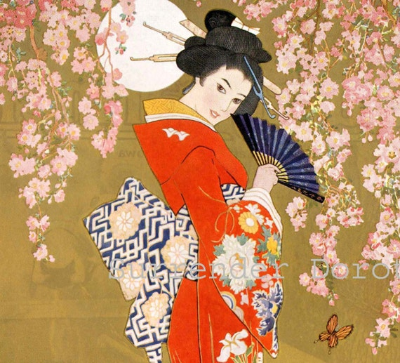 Miss Tokio Hosiery Geisha Cherry Blossoms Fashion Poster 1927
