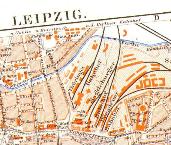 Leipzig Germany Map 1905 European City Antique Steel Engraving Vintage Edwardian Cartography To Frame