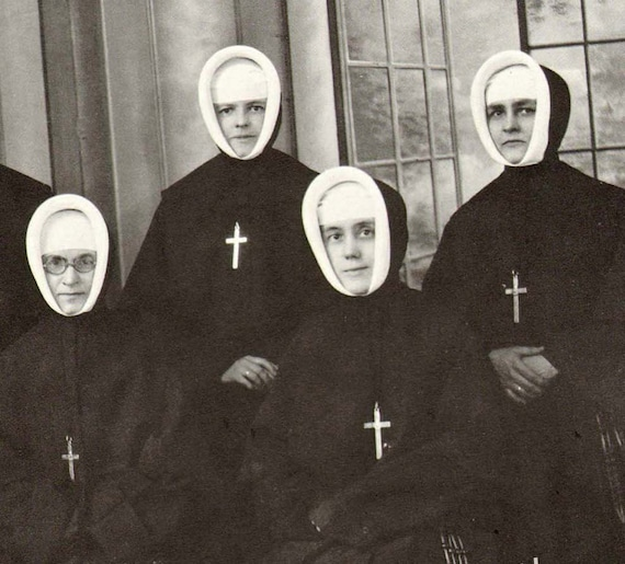 Sisters Of No Mercy Photo Illustration Catholic Nuns 1930s Black and White Classic Print To Frame