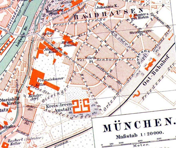 Munich Germany Map 1906 Antique Edwardian Steel Engraving Vintage Cartography European City Art To Frame