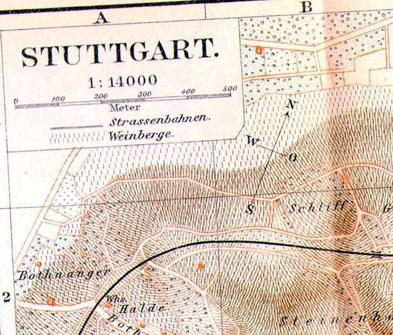Stuttgart Germany Map With Vineyards 1906 Antique Edwardian Steel Engraved Cartography European City Art To Frame