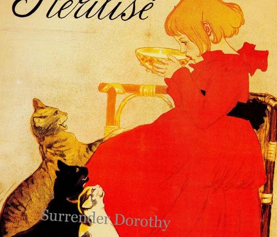 Litle Girl And Cats Pure Sterilized Milk T.A. Steinlen Paris France Victorian Era 1894 Lithograph Poster Advertisement To Frame