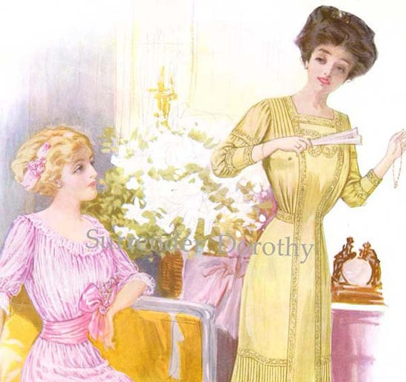 Spring Gowns Woman's Corseted Fashions 1910 Large Edwardian Era Lithograph Illustration To Frame