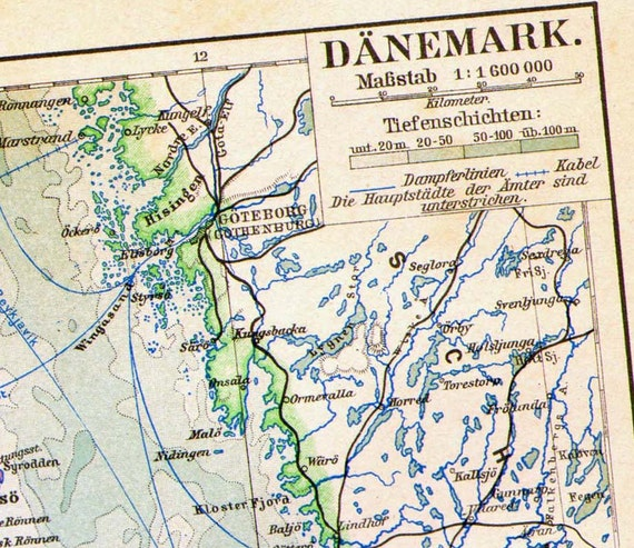 Denmark Map Edwardian Era 1903 Vintage Steel Engraved European Cartography To Frame