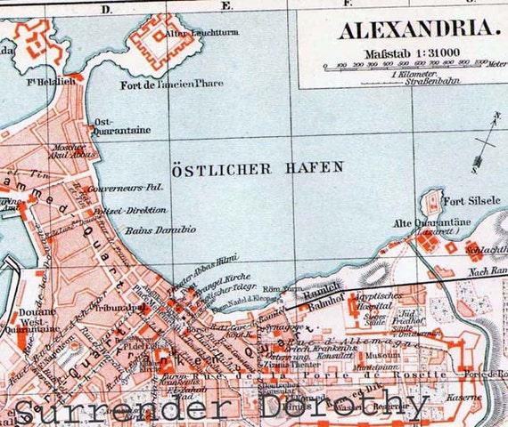 Alexandria Egypt  Map 1906 Vintage Edwardian Era Steel Engraving City Cartography To Frame