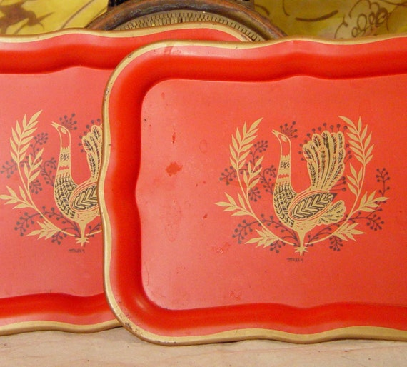 Peacock Red Tole Tray Snack Set 1960s Two Retro Mid Century Vintage Home Decor