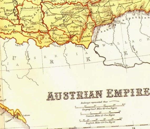 Map Austria Hungary Empire Vintage Victorian 1871 Lippencott Antique Copper Engraving European Cartography Austria Hungary