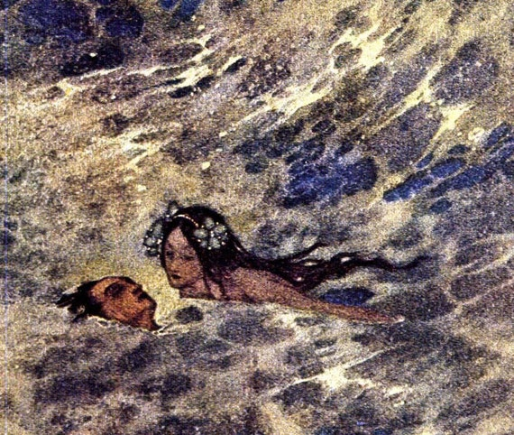 Little Mermaid Edmund Dulac Vintage Children's Fairytale Nursery Lithograph Print To Frame