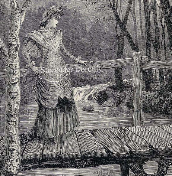 On The Bridge Where Rivers Meet 1892 Romantic Vintage Victorian Illustration To Frame