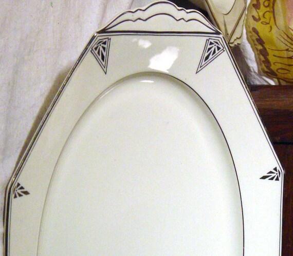 Community China Deauville Serving Platter 1920s Art Deco Platinum Trim Roaring Twenties Black and White