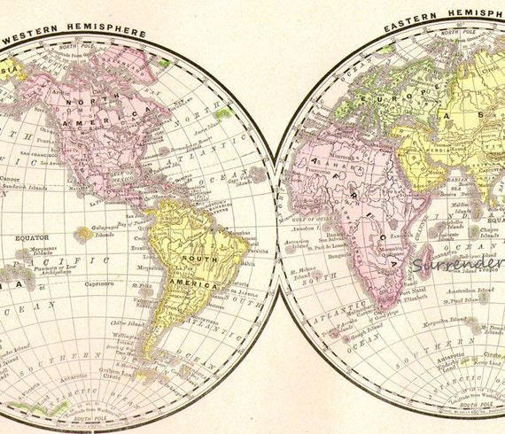 World Map Western Eastern Hemisphere 1890 Rand McNally Victorian Antique Cartography For Framing