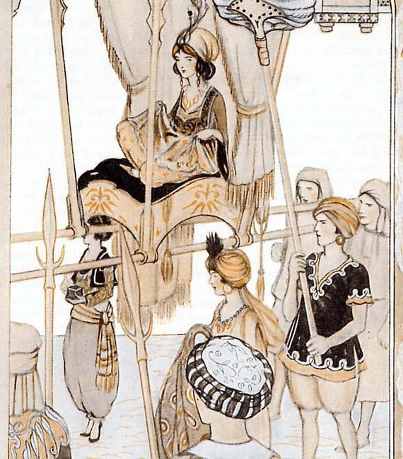 Beautiful Buddir Al Buddoor Persian Princess Arabian Nights 1920s Original Children's Print To Frame