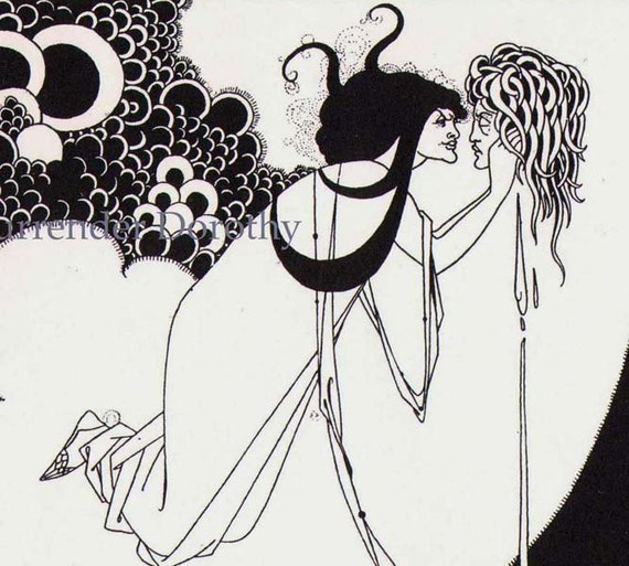 Climax From Solome By Oscar Wilde Creepy Victorian Drawing by Aubrey Beardsley 1891