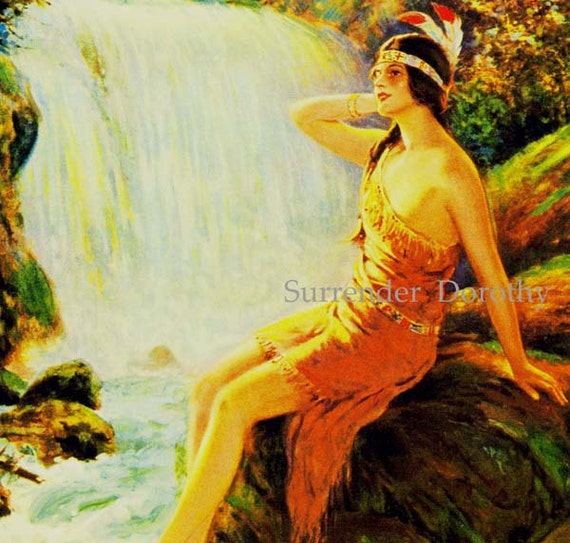 Waterfall Maiden F P Harper 1930s Native American Pinup Girl Vintage Man-Cave Poster Print To Frame