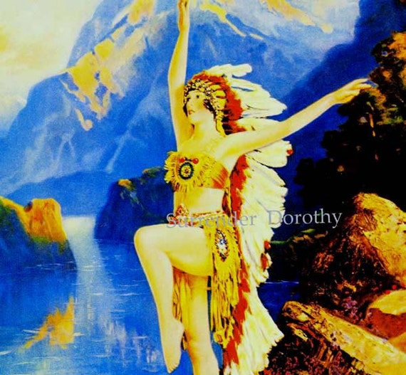 Daughter Of The Setting Sun R Atkinson Fox 1920s Native American Girl Pinup Maiden Vintage Man-Cave Poster Print To Frame